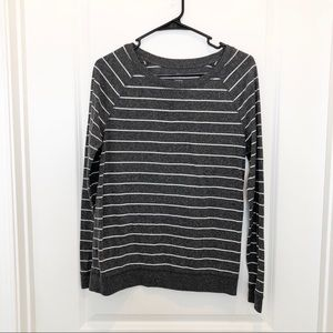 Ann Taylor Loft Gray White Stripe Long Sleeve M